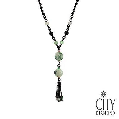 City Diamond引雅翠玉A貨摟空圓形福壽雙全長掛型項鍊