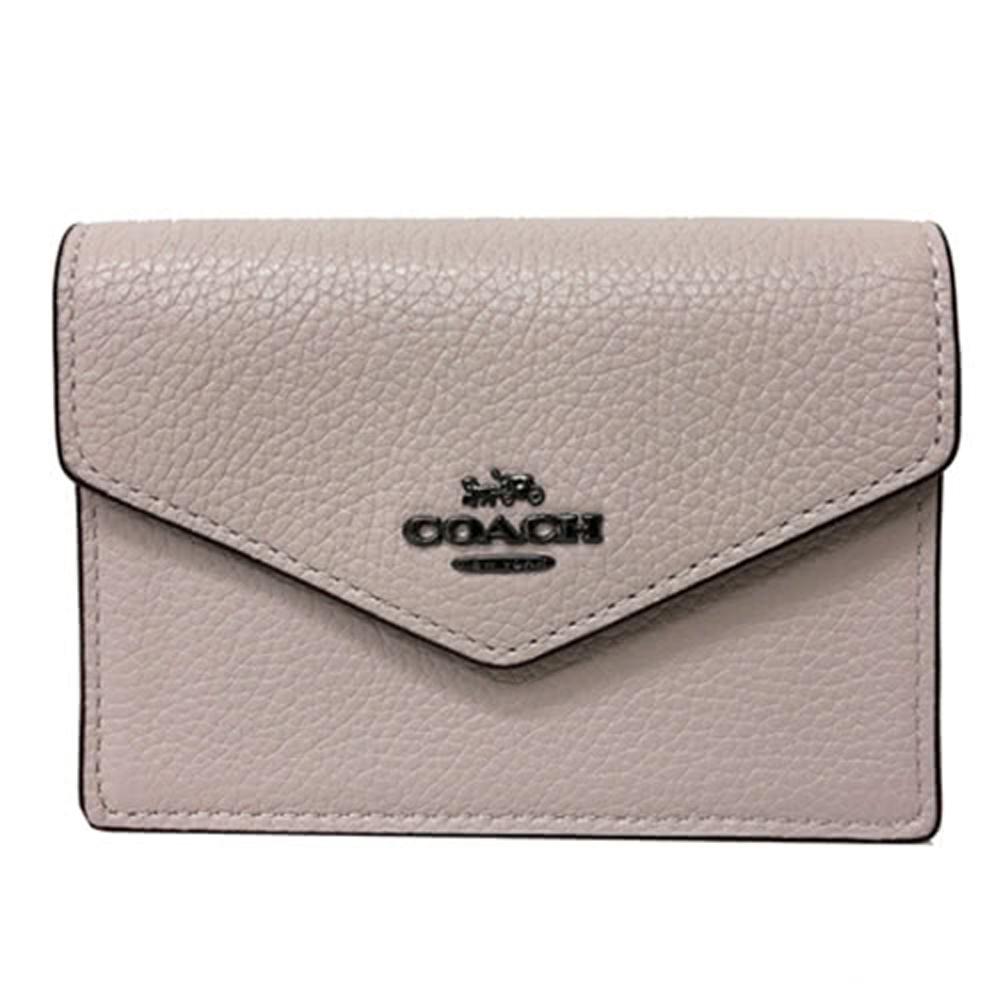 COACH 經典 LOGO 牛皮零錢包鑰匙包悠遊卡證件包(粉膚)