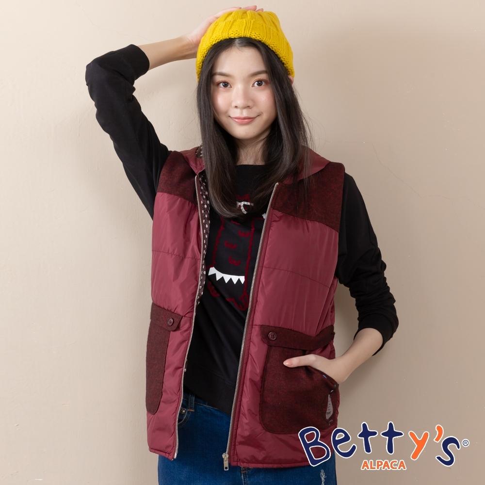 betty's貝蒂思 連帽拼接混羊毛輕薄背心外套(紅色)