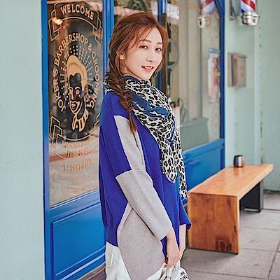 IREAL質感豹紋配色絲巾/圍巾
