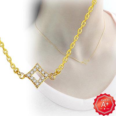A+黃金 精緻雙邊滿鑽菱形 999千足黃金鎖骨墜