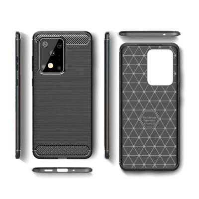 PKG 三星Galaxy Note20 Ultra 手機殼時尚碳纖紋路+抗指紋-精緻黑