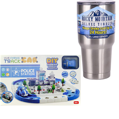 《3D-Track Police Station》拼圖3D立體場影軌道車+冰霸杯組