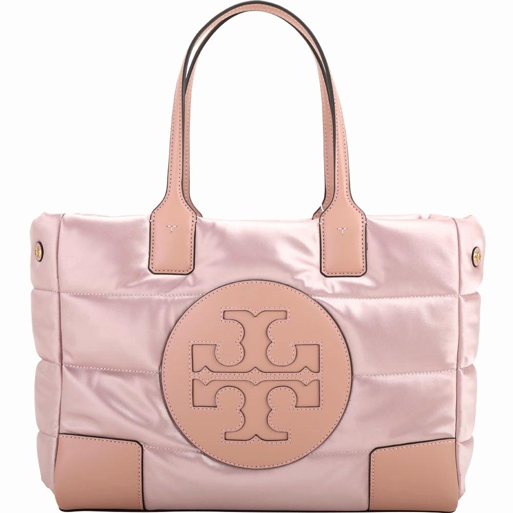 TORY BURCH  Ella Mini Puffer 品牌徽標厚磅空氣尼龍托特包(粉色)
