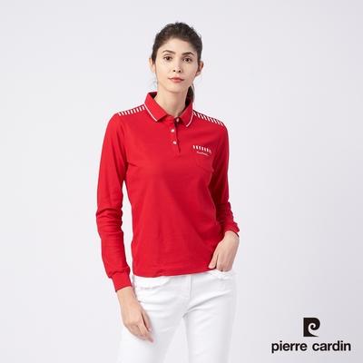 Pierre Cardin皮爾卡登 女款 棉質混紡液汰冷素材網眼針織薄長袖POLO衫-紅色(4195204-79)