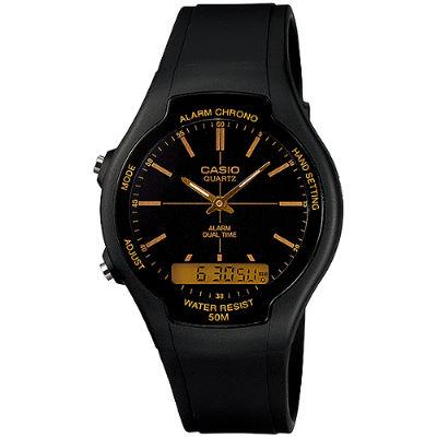 CASIO 都會個性型男雙顯錶-黑面金色刻度(AW-90H-9E)/32.5mm