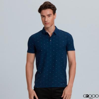 G2000印花網眼點點短袖polo衫-深藍色