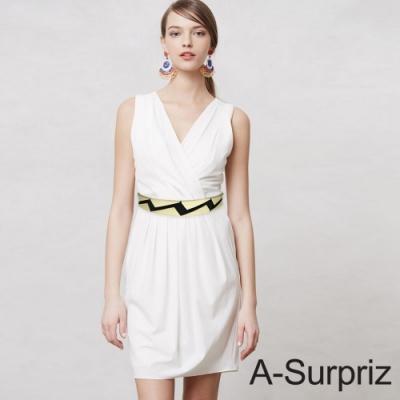 A-Surpriz 金屬拼接斜三角彈性腰帶(黑)