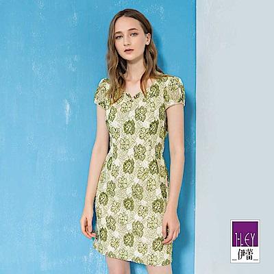 ILEY伊蕾 花草縷空蕾絲圓領洋裝(綠)