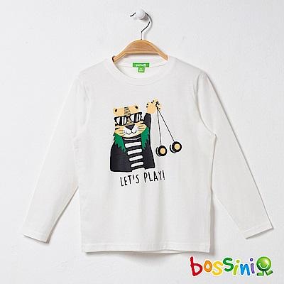 bossini男童-印花長袖T恤06灰白