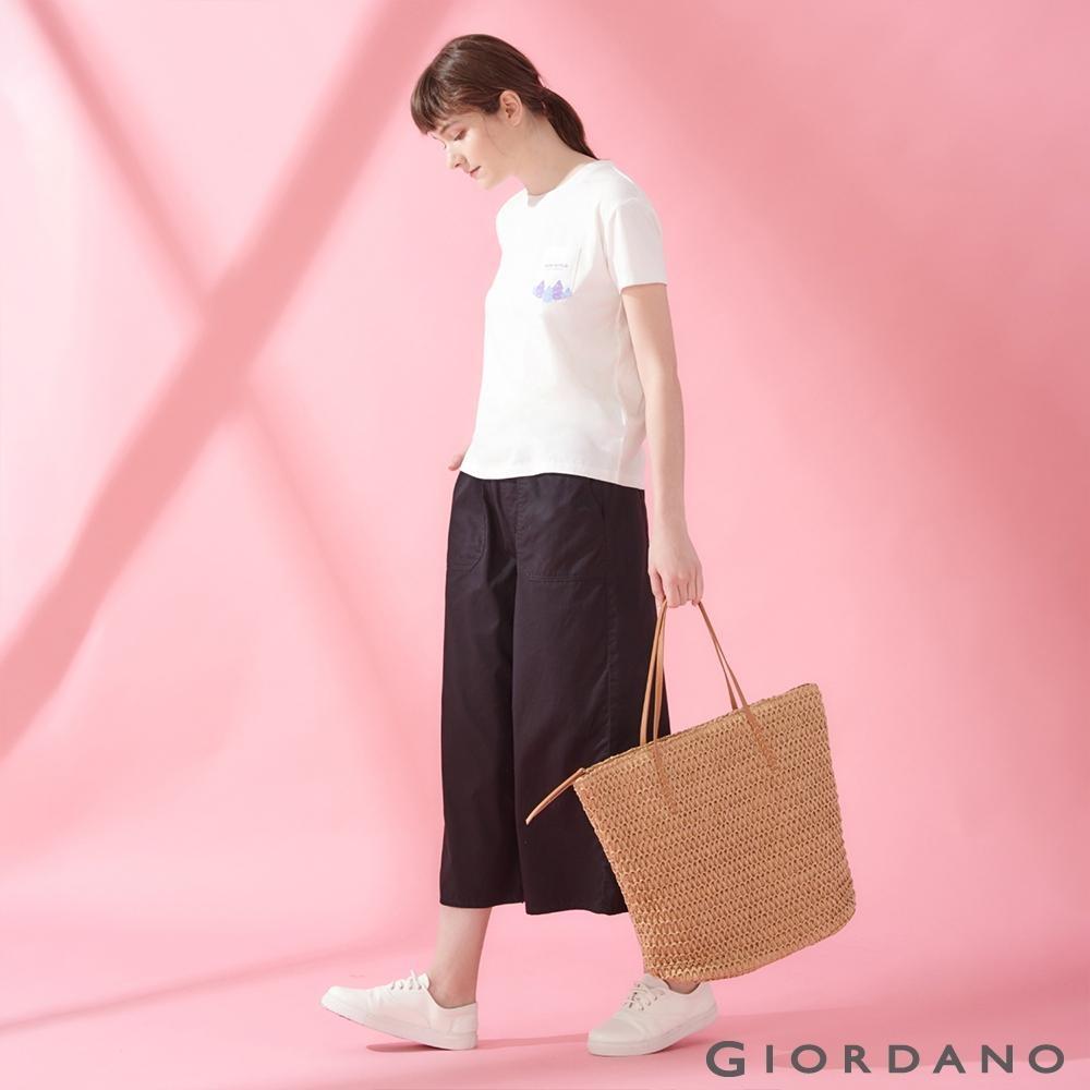 GIORDANO 女裝DEAR WORLD 系列純棉印花口袋T恤-21 皎雪