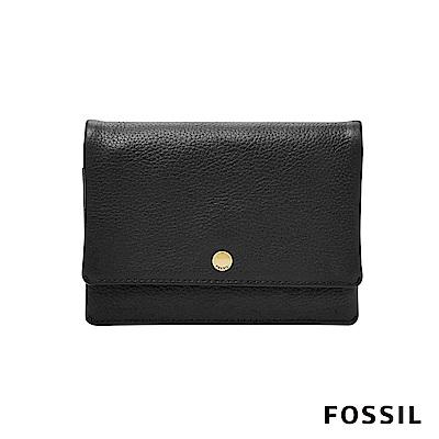 FOSSIL AUBREY金釦設計零錢短夾-黑色
