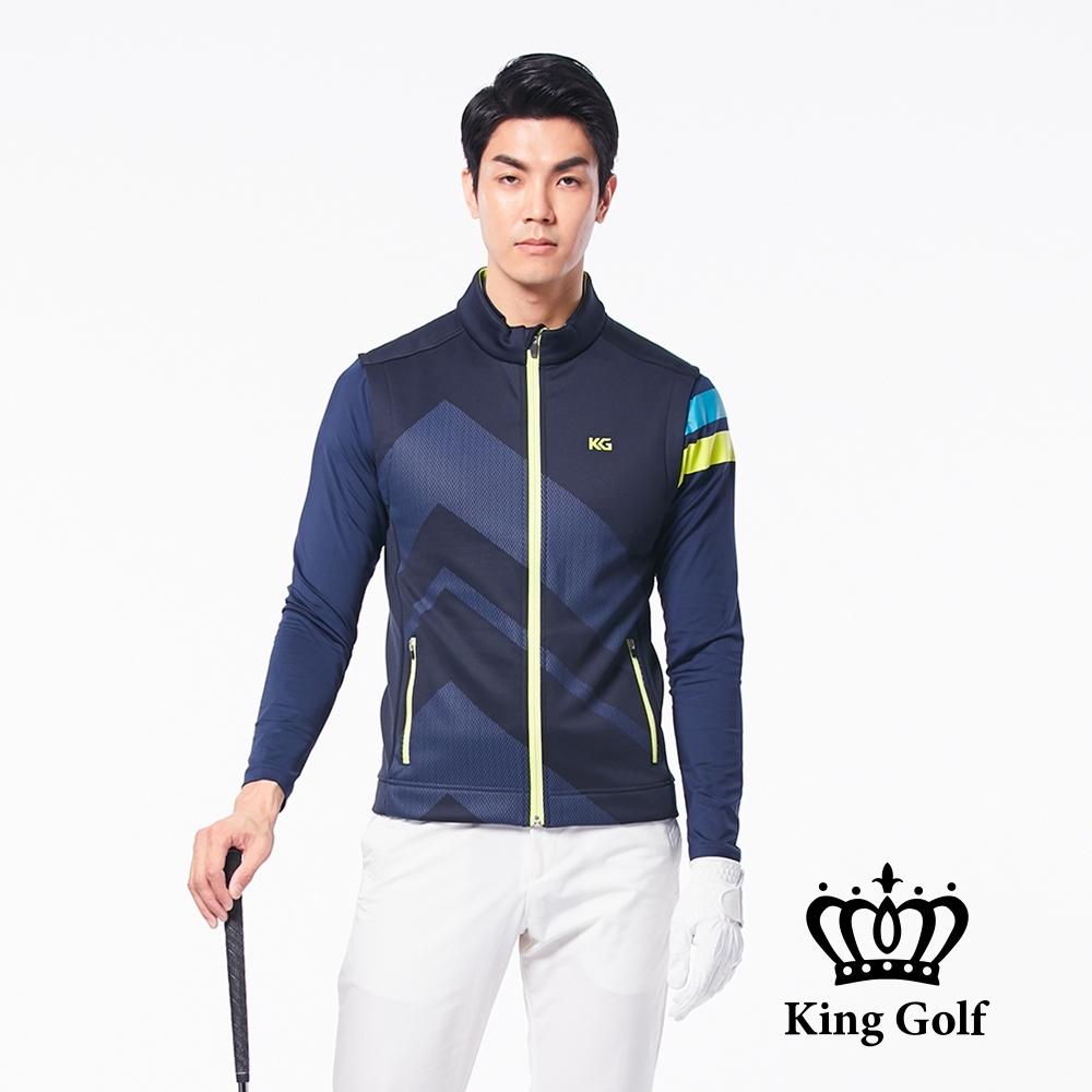 【KING GOLF】KING GOLF印標幾何壓紋拉鍊撞色輕薄防風背心外套-丈青