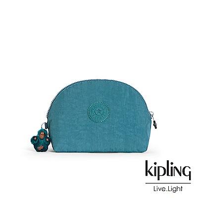 Kipling 靜謐藍綠色素面圓弧貝殼狀化妝包-ZADOK