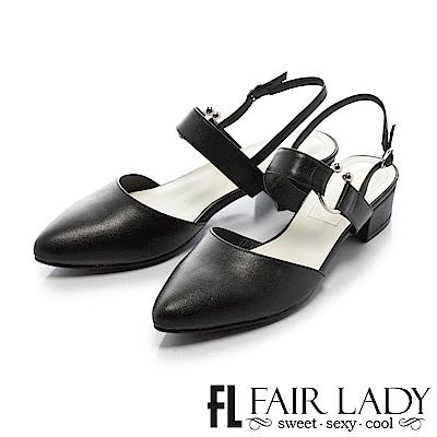 Fair Lady尖頭設計寬版繫帶粗跟涼鞋 黑