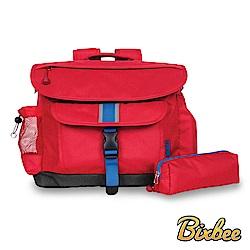 美國Bixbee - 經典系列活力紅大童輕量舒壓背書包筆袋超值組