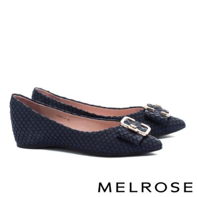 平底鞋 MELROSE 復古時尚金屬飾釦尖頭全真皮平底鞋-藍