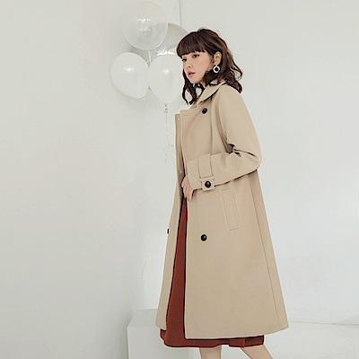 柔美純色毛呢雙排釦長版大衣/外套-OB大尺碼