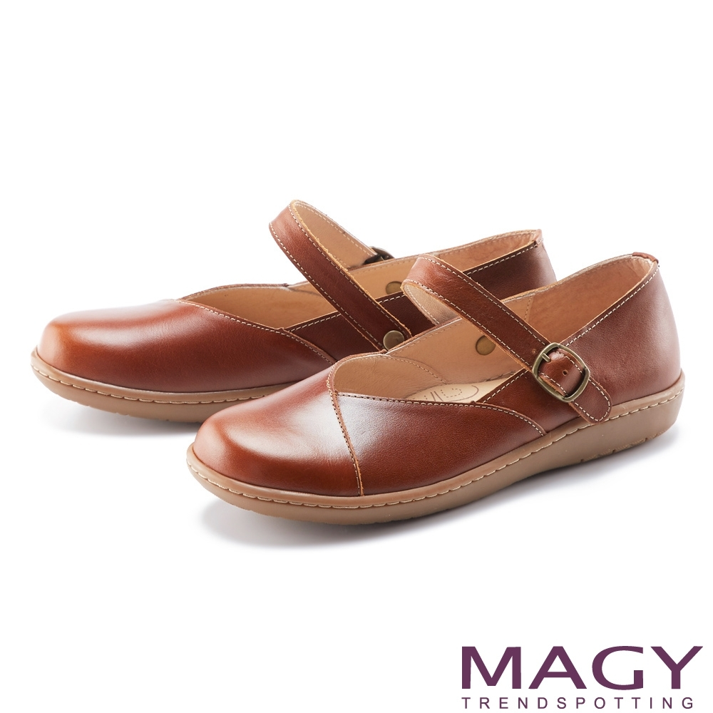 MAGY 2WAY可移動腳背帶真皮 女 休閒鞋 棕色