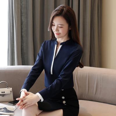 2F韓衣-韓系V領配色開叉下擺雪紡上衣-新-深藍(S-2XL)
