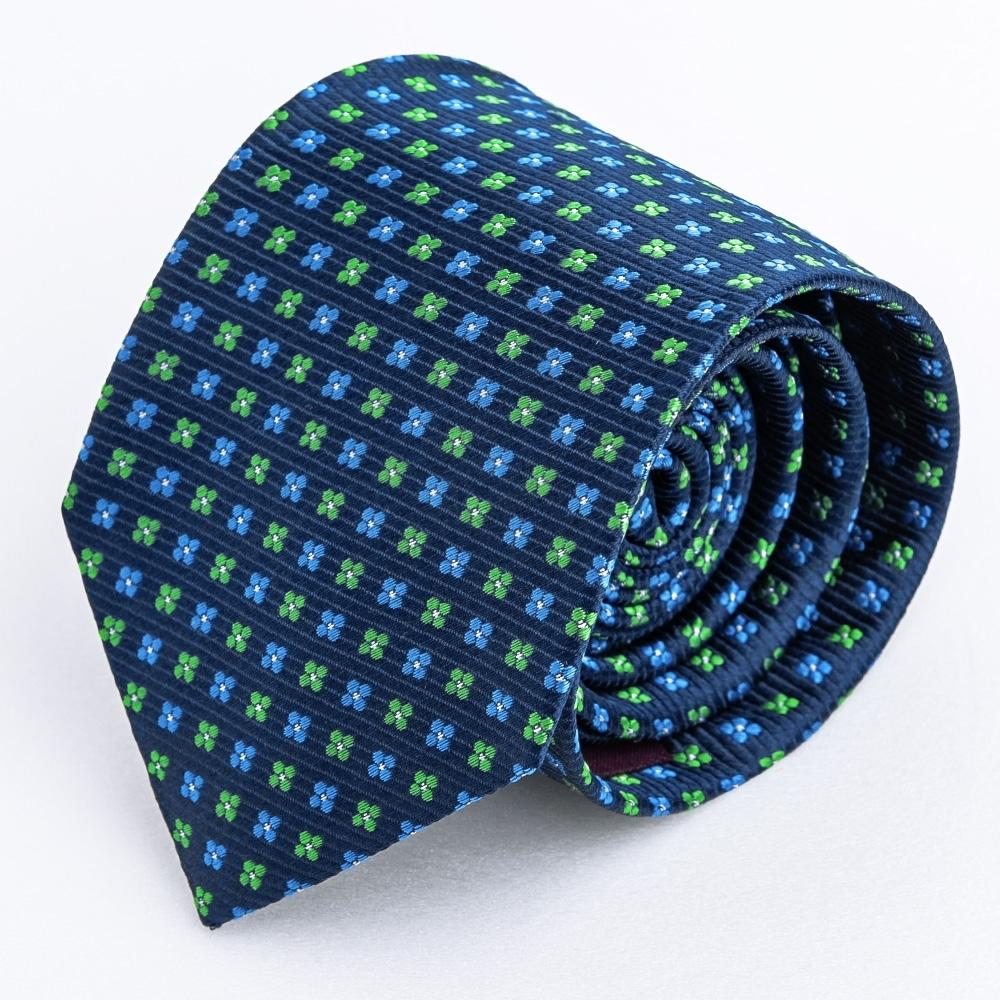 優雅精緻緹花蠶絲領帶_藍綠雙色提花(YT5098)