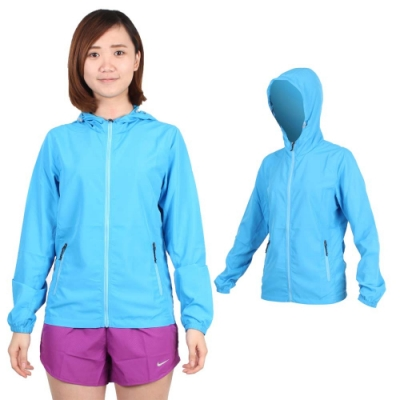 SOFO 女薄風衣外套-可收納 連帽 慢跑 路跑 天空藍