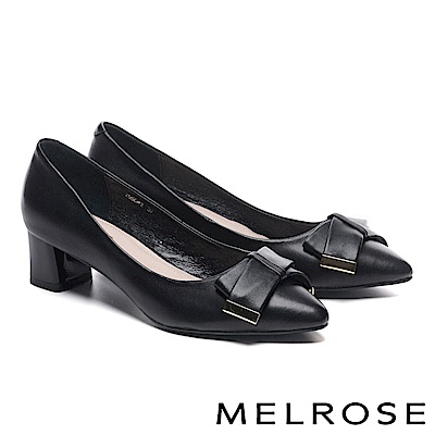 高跟鞋 MELROSE 素雅氣質蝴蝶結金屬飾釦羊皮尖頭粗高跟鞋-黑
