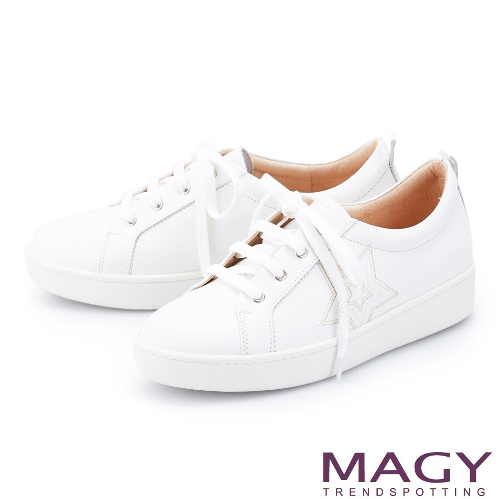 MAGY 側邊星星綁帶真皮厚底 女 休閒鞋 白色