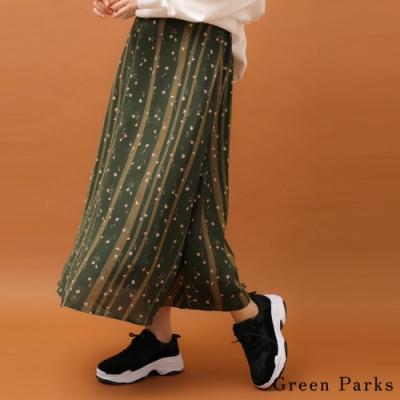 Green Parks 花朵圖案拼色喇叭裙