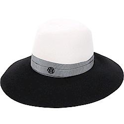 Maison Michel KATE 撞色綢緞織帶兔毛氈大寬檐軟呢帽(白x黑)