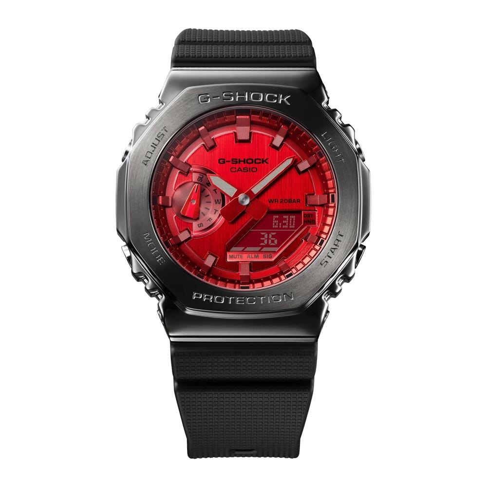 CASIO卡西歐 G-SHOCK 搶眼灰紅 金屬錶殼 八角型錶殼 GM-2100B-4A_44.4mm