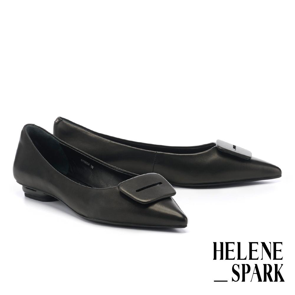 平底鞋 HELENE SPARK 簡約質感方釦全真皮尖頭平底鞋-黑