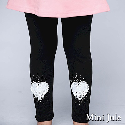 Mini Jule 內搭褲 愛心蕾絲珠珠內搭褲(黑)