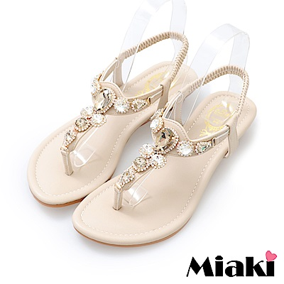 Miaki-涼鞋華麗時尚楔型涼鞋-米色
