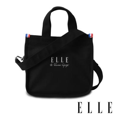 ELLE 周年限定版-極簡風帆布斜背小方包-黑色 EL52370