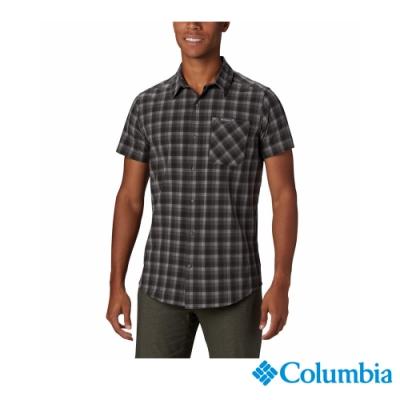 Columbia 哥倫比亞 男款- 快排防曬30短袖格子襯衫-灰色 UEE02850GY