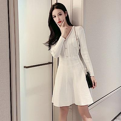 DABI 韓系修身小香風V領針織紐扣毛衣針織長袖洋裝