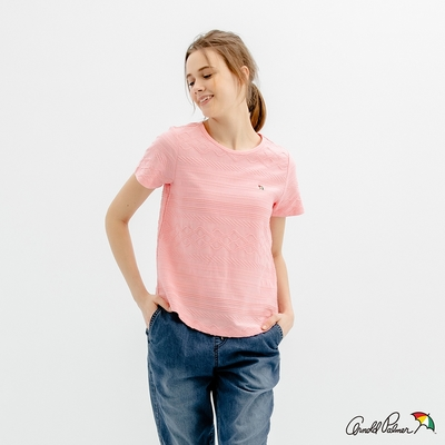 Arnold Palmer -女裝-提織條紋寬鬆T恤-粉色