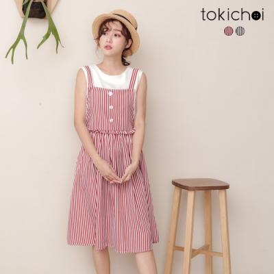 東京著衣 鄰家女孩撞色條紋腰圍鬆緊吊帶裙-S.M.L(共二色)