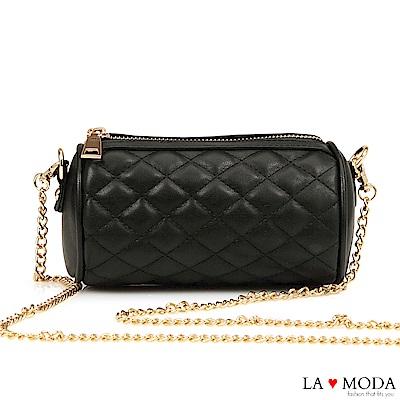 La Moda 輕巧便攜小香風菱格紋鍊條小包(黑)