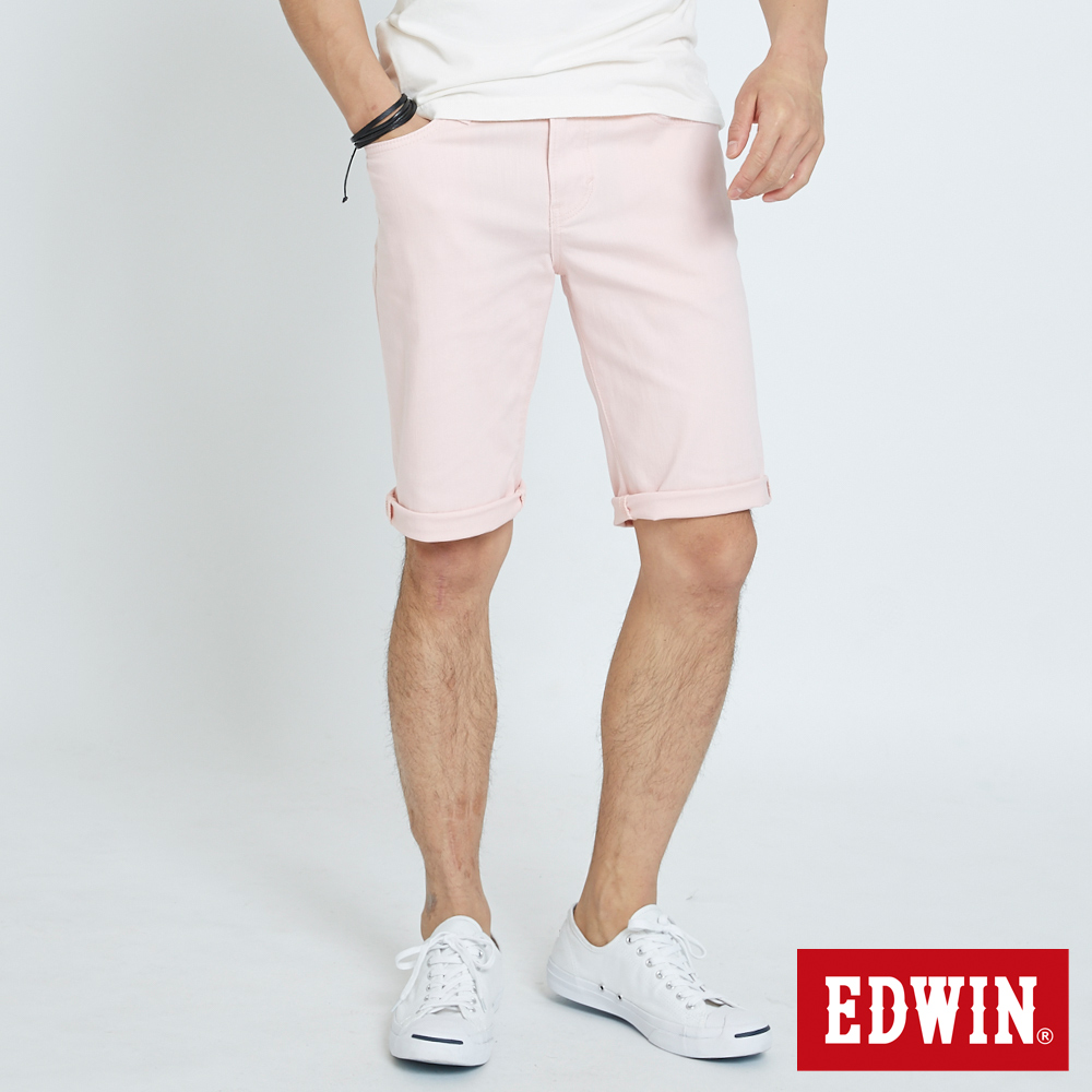 EDWIN 503休閒基本五袋短色褲-男-粉色