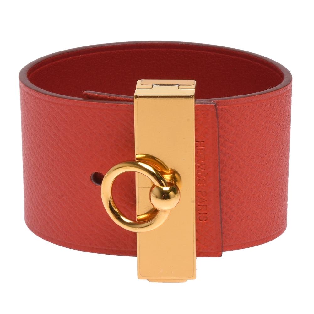 HERMES 金屬Epsom小牛皮雙面寬版手環(火焰紅X金)