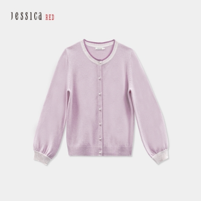 JESSICA RED - 淺粉羊絨混紡保暖舒適圓領針織開衫外套