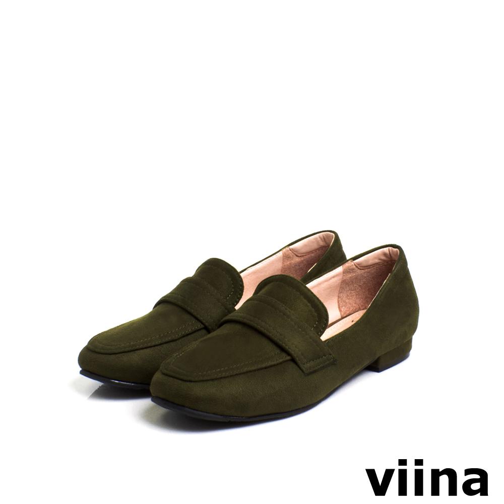 viina Basic 羊絨布素面樂福鞋 - 墨綠