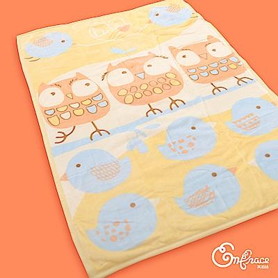 Embrace英柏絲 雙層法蘭絨兒童毯100x140cm 抗靜電 保暖-暖暖貓頭鷹