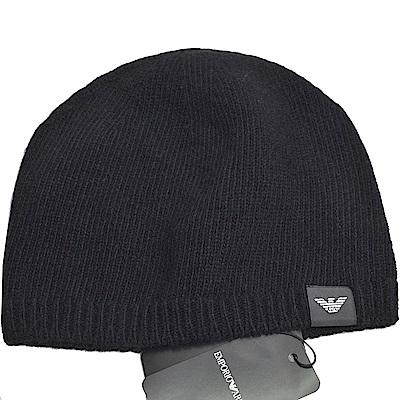 EMPORIO ARMANI 義大利製老鷹LOGO圖騰喀什米爾羊毛帽(黑色)