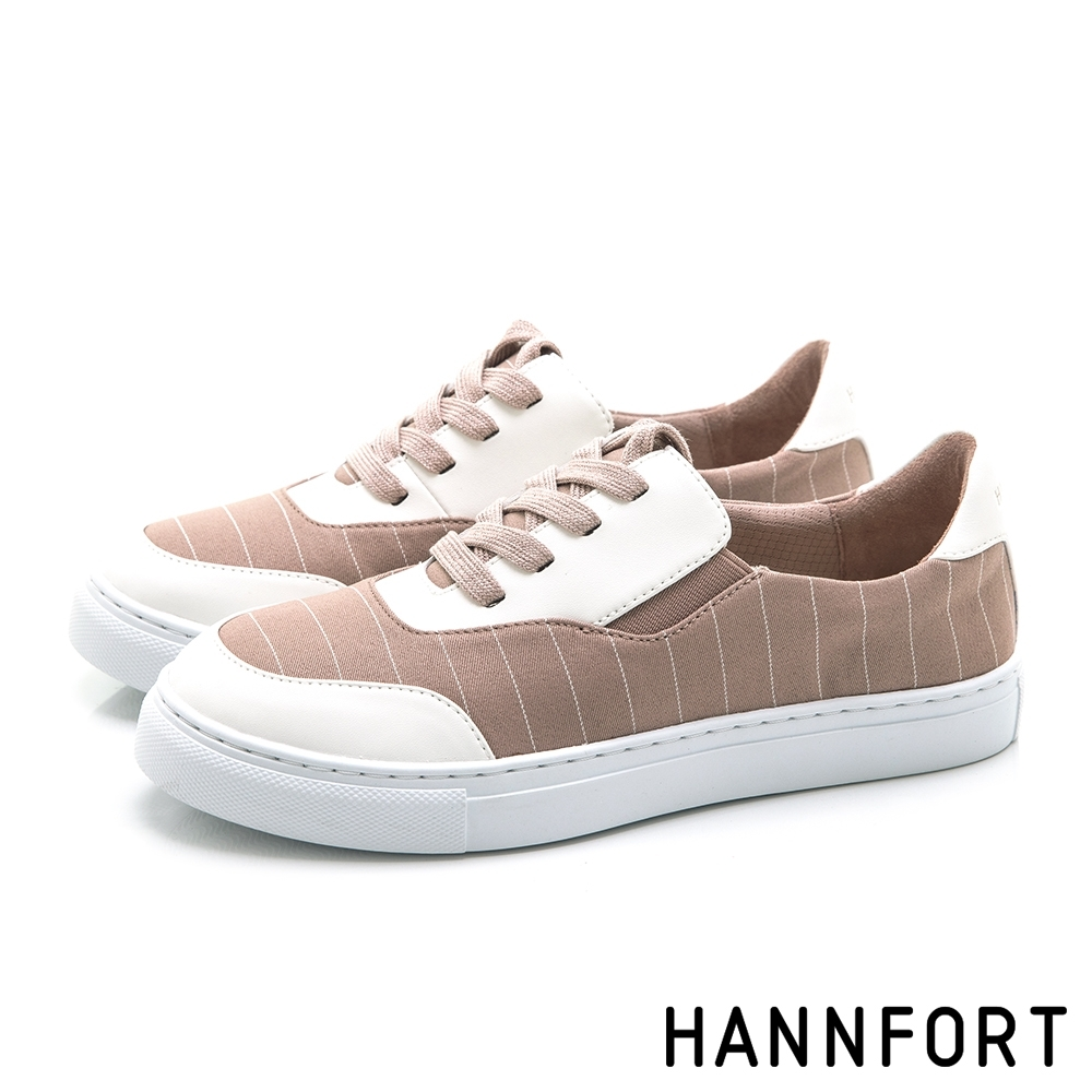 HANNFORT CAMPUS 簡約線條帆布鞋-女-粉紅