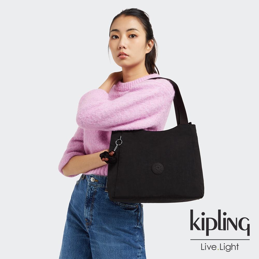 Kipling 極簡俐落黑典雅手提托特包-HALSTEIN