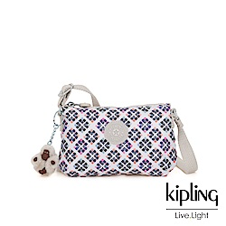 Kipling 復古花磚長形拉鍊側背包-MELY