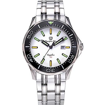 OlympiaStar 奧林比亞之星 神盾系列極限氚氣石英手錶(98024TGS)-白